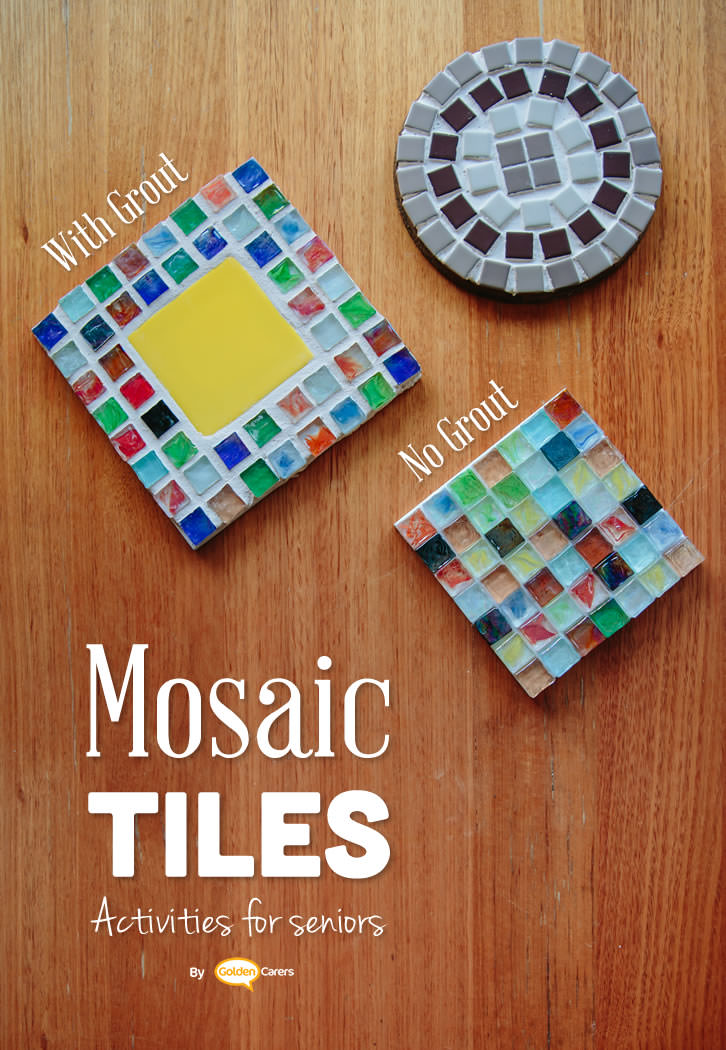 Mosaic activities are creative, addictive and calming.  Mosaics make any surface beautiful! They can be used as a saucepan and spoon rest, a teapot rest, or to sit a pot plant upon. This is a lovely activity for seniors, it's one the men will enjoy too.