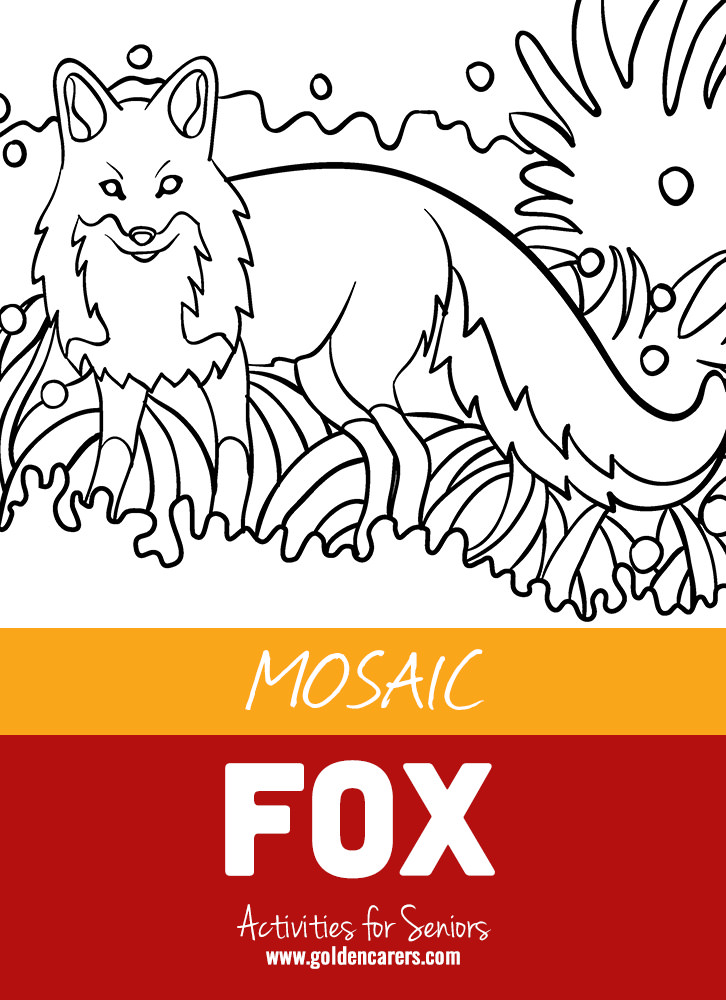 The next installment in our mosaic coloring activities - a sly fox!