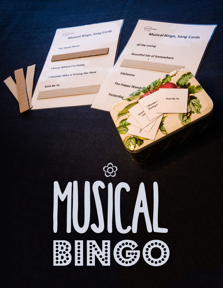 Musical Bingo improves recall and provides opportunities to reminisce. It is also an enjoyable and sociable game. This game was created by a Music Therapist I worked with and it was very popular in our Dementia Care Unit. If you don't have time to put the game together, ask a volunteer to help you. All you need is a computer, a printer and a laminator. This activity includes downloadable song cards and calling cards.