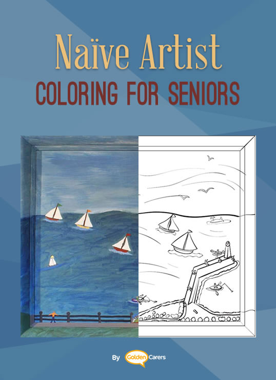 Famous Naïve Art Colouring Pages for Seniors: Here is an impression of a work of art by Sheila Maloney.