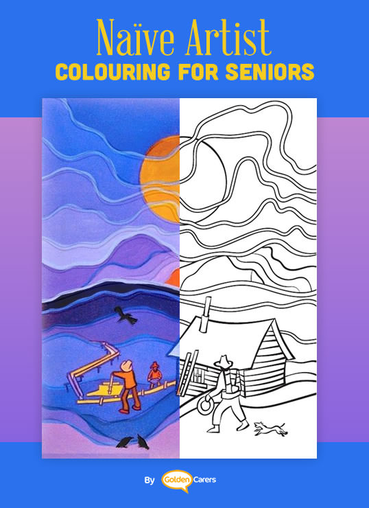 Famous Naïve Art Colouring Pages for Seniors: Here is an impression of a work of art by Ted Harrison.