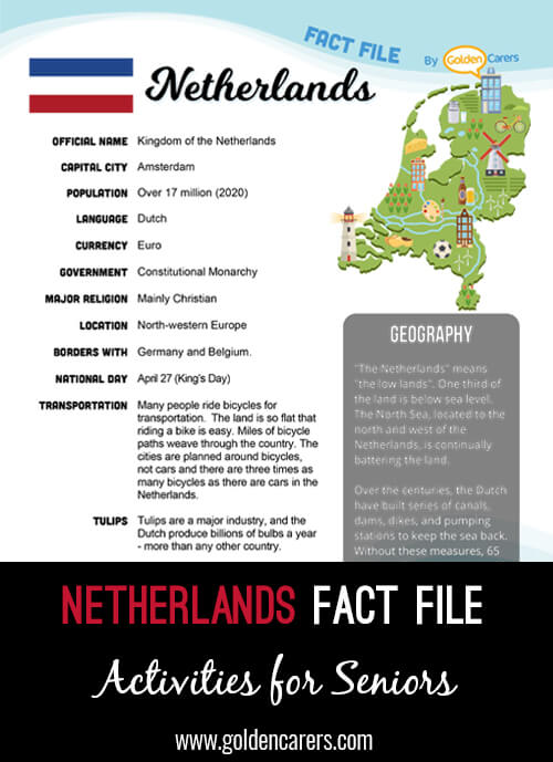 An attractive one-page fact file all about the Netherlands. Print, distribute and discuss!