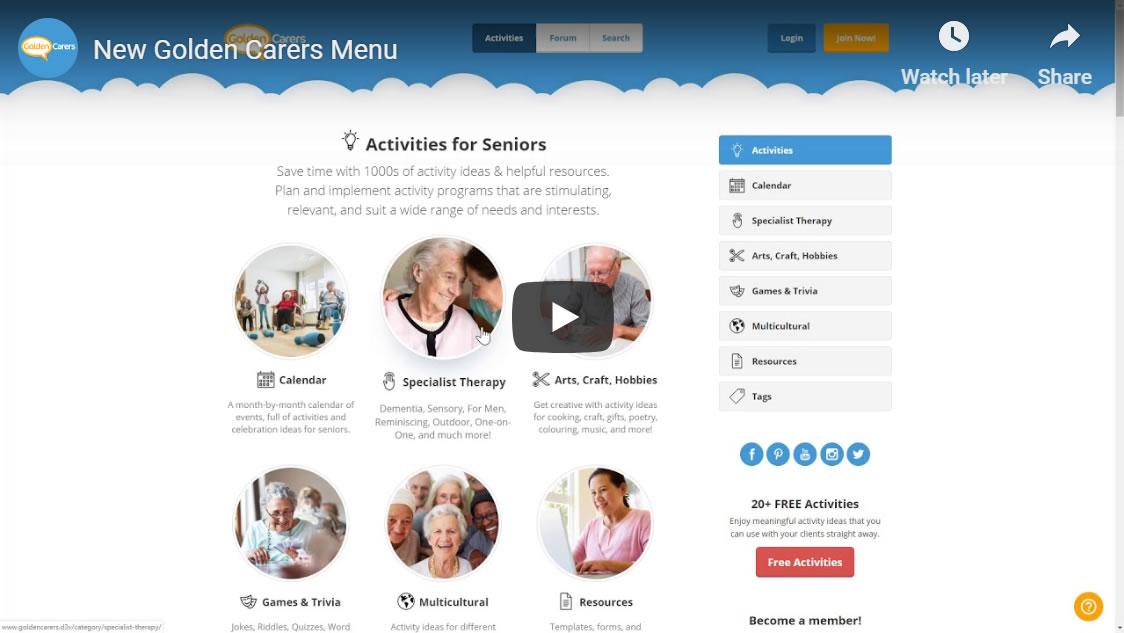 The new Golden Carers activity menu!