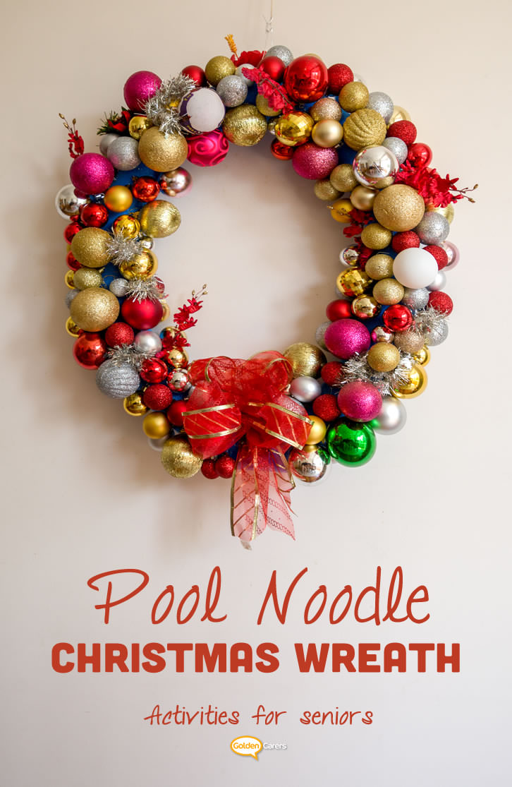 These wreaths are stunning! They are so simple to make using pool noodles and Christmas balls. This is a wonderful and fun social activity for high functioning residents in nursing homes and assisted living facilities to enjoy.