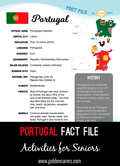 An attractive one-page fact file all about Portugal. Print, distribute and discuss!