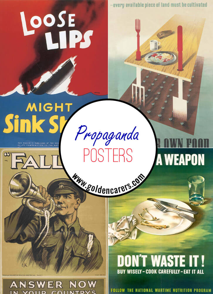 Propaganda posters from WW1 and WW2