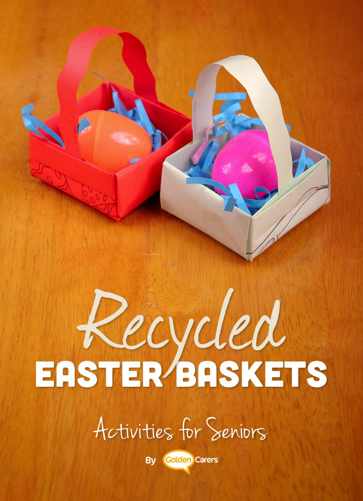 Lovely Easter baskets you can make with recycled paintings and paper.