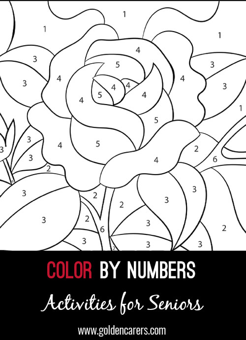 A color by number Rose activity to enjoy! Use the key provided to color each number and discover the completed image.