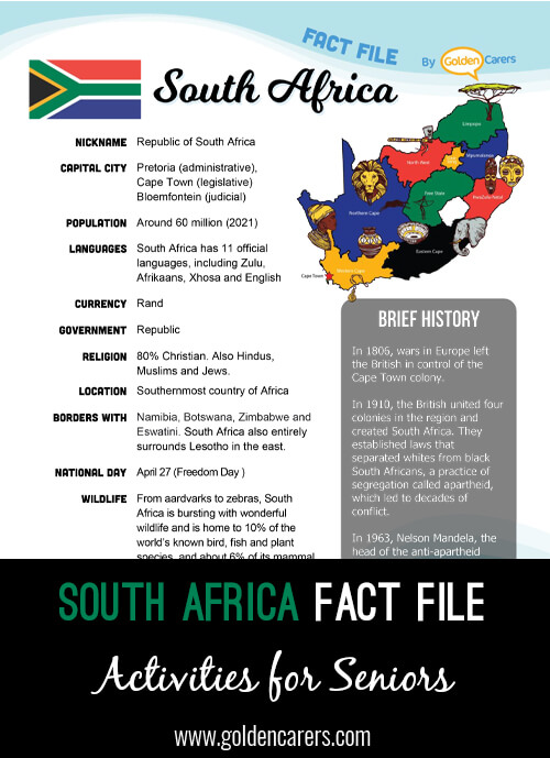 An attractive one-page fact file all about the South Africa. Print, distribute and discuss!