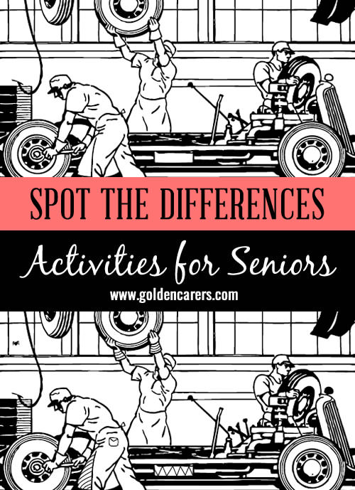 Car Mechanic's Workshop: the men will appreciate this one! This is a fun and relaxing activity for seniors.