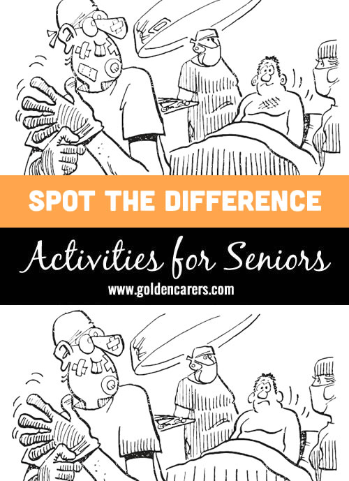 Surgeon in the operating room: another fun activity for seniors in our spot the differences series!