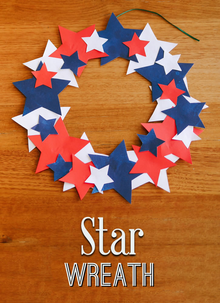 Have fun making star wreaths in the colors of the American flag to decorate your facility!