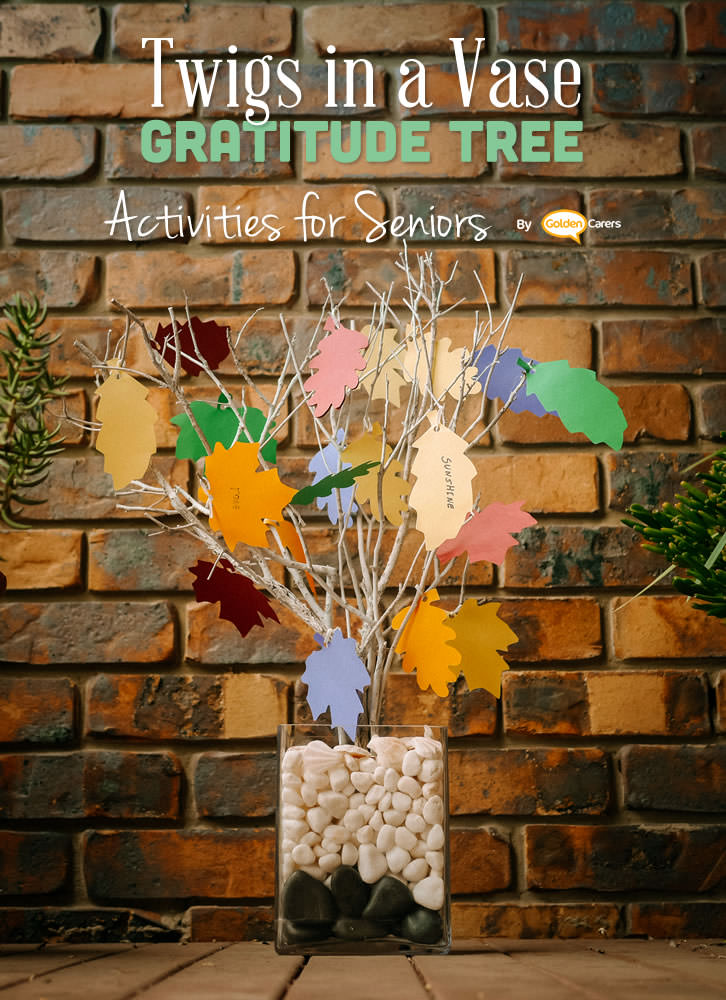 A homemade Thanksgiving Twig Tree can be made from the dried branches of trees placed in a vase with stones or sand to keep them in place.