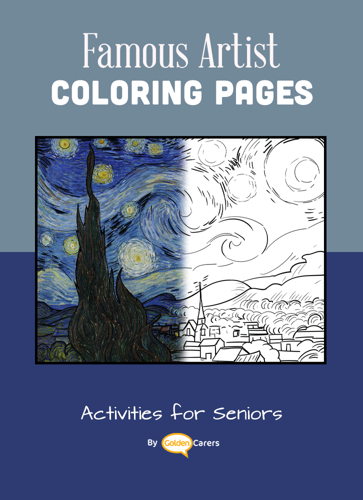 Famous Artist  Coloring Pages: Here is an impression of a work of art by Artist Impression - Vincent Van Gogh - Starry Night