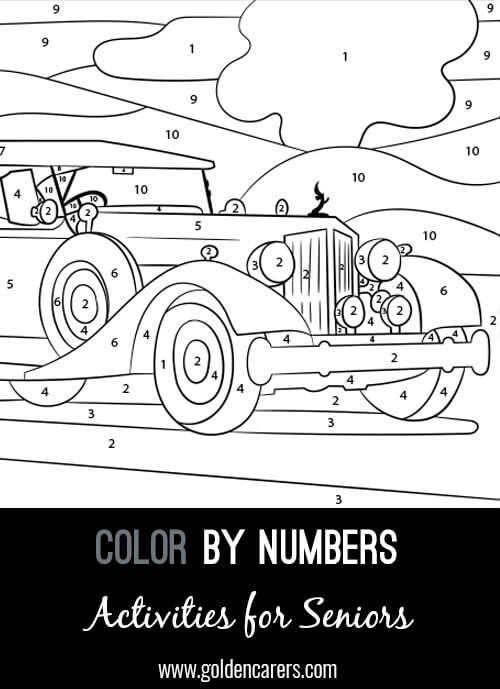 A color by number Vintage Car activity to enjoy! Use the key provided to color each number and discover the completed image.